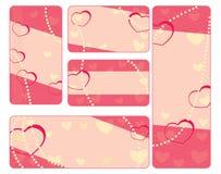 Собрание бирок валентинки с жемчугами Стоковое Фото