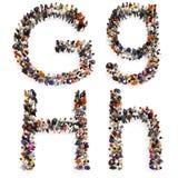 Собрание большой группы людей формируя письмо g и h как в верхней, так и в строчной букве изолированное на белой предпосылке иллюстрация штока