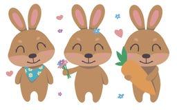 Собрание вектора зайчика пасхи милого коричневого цвета мультфильма усмехаясь установило с цветками, сердцами, морковью для детей бесплатная иллюстрация