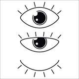 Собрание вектора значка глаз установленное Значки посмотрите и зрения Стоковые Изображения RF