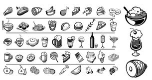 Собрание вектора икон еды Стоковое Изображение