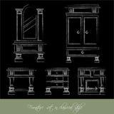 Собрание вектора классической мебели Стоковые Изображения RF