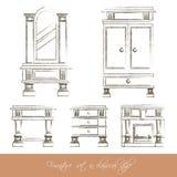 Собрание вектора классической мебели Стоковое фото RF