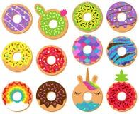 Собрание вектора потехи и милых Donuts иллюстрация вектора