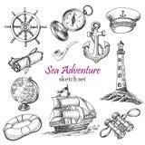 Собрание вектора приключения моря в стиле эскиза Стоковая Фотография RF