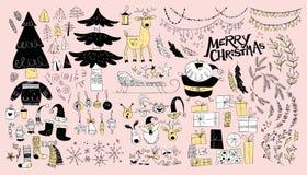 Собрание вектора родных элементов дизайна рождества изолированных на светлой предпосылке Стоковые Изображения