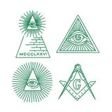 Собрание вектора символов Freemason Всевидящее око бесплатная иллюстрация