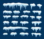 Собрание вектора сосулек и снега иллюстрация штока