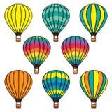 Собрание вектора установленное с воздушными шарами Стоковые Изображения