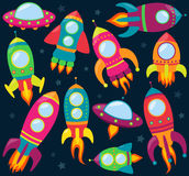 Собрание вектора шаржа Rocketships Стоковые Фото
