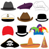 Собрание вектора шляп или упорок фото Стоковые Изображения