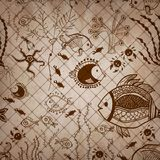 Собрание винтажного sepia нарисованное вручную Картины Стоковые Изображения