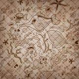 Собрание винтажного sepia нарисованное вручную Картины Стоковые Фото