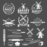 Собрание винтажных ретро значков и ярлыков логотипа хлебопекарни Стоковое Изображение
