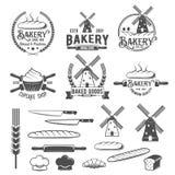 Собрание винтажных ретро значков и ярлыков логотипа хлебопекарни Стоковое фото RF