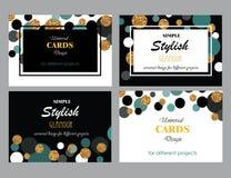 Собрание всеобщих современных стильных шаблонов карточек с золотом иллюстрация вектора