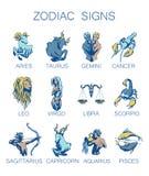 Собрание всех знаков зодиака Иллюстрация вектора 12 Zodiacal символов Стоковая Фотография RF