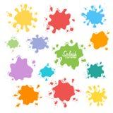 Собрание выплеска краски Комплект вектора ходов щетки белизна изолированная предпосылкой Стоковое Фото