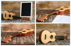 Собрание гавайской гитары и классн классного на деревянной предпосылке Стоковая Фотография