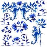Собрание голубого выплеска фантазии в русском стиле Стоковые Фотографии RF