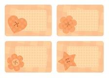 Собрание горизонтальных карточек с декоративными кнопками Стоковое фото RF