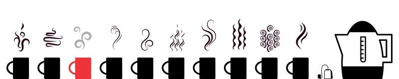 Собрание горячего изолированного значка напитков с символами пара бесплатная иллюстрация