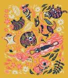 Собрание декоративных австралийских животных в ультрамодных цветах r бесплатная иллюстрация