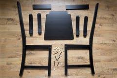 Собрание деревянной мебели, деревянных частей обедая стула Стоковая Фотография