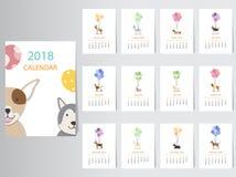 Собрание дизайна календаря 2018 собаки портрета Стоковые Фото