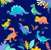 Собрание динозавров, милые иллюстрации доисторических животных иллюстрация штока