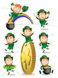 Собрание лепрекона на день Patricks Святого, счастливого лепрекона иллюстрация вектора