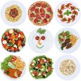 Собрание ед еды с пиццей, салатом, макаронными изделиями, спагетти и Стоковое Изображение