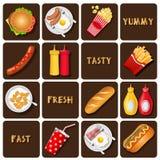Собрание еды и закуски и приправы Стоковая Фотография