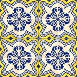 Собрание 4 желтого и голубых плиток картин Стоковые Фотографии RF
