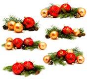 Собрание желтого цвета украшения рождества фото красного и золотого Стоковая Фотография