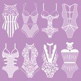 Собрание женское бельё тело Стоковое Изображение