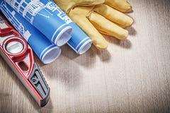 Собрание защитной сини уровня конструкции кожаных перчаток Стоковое фото RF