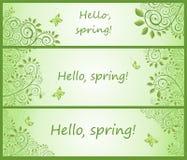 Собрание зеленого декоративного горизонтального флористического знамени Стоковые Фото