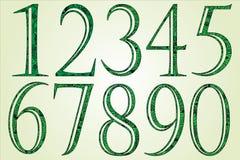 Собрание зеленых номеров сделанных свирлей Стоковые Изображения RF