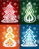 Собрание кружевной зимы вектора деревьев Стоковое Изображение