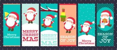Собрание знамен рождества с милым Санта Клаусом иллюстрация штока