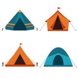 Собрание значка вектора располагаясь лагерем шатров Стоковое Фото