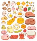 Собрание значка doodle еды симпатичного младенца японского восточного Стоковые Фотографии RF
