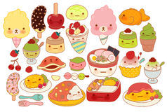Собрание значка doodle еды симпатичного младенца японского Стоковая Фотография