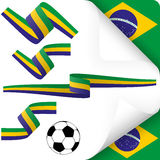 Собрание - значки Бразилии и аксессуары маркетинга Стоковое фото RF