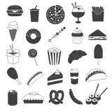 Собрание значков высококалорийной вредной пищи Стоковые Фотографии RF