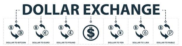 Собрание значков девизов в долларах установленное Включает простые элементы как доллар к Bitcoin, доллар к евро, доллар к английс бесплатная иллюстрация