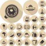 Собрание значков еды коричневое плоское Стоковые Изображения