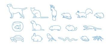 Собрание значков любимчика нарисованных с голубой линией контура на белой предпосылке Комплект символов домашнего животного линей Стоковое Изображение