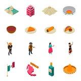 Собрание значков мексиканських Touristic привлекательностей равновеликое иллюстрация вектора
